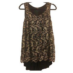 Cupio Metallic Lace Lined Sleeveless Tunic Top